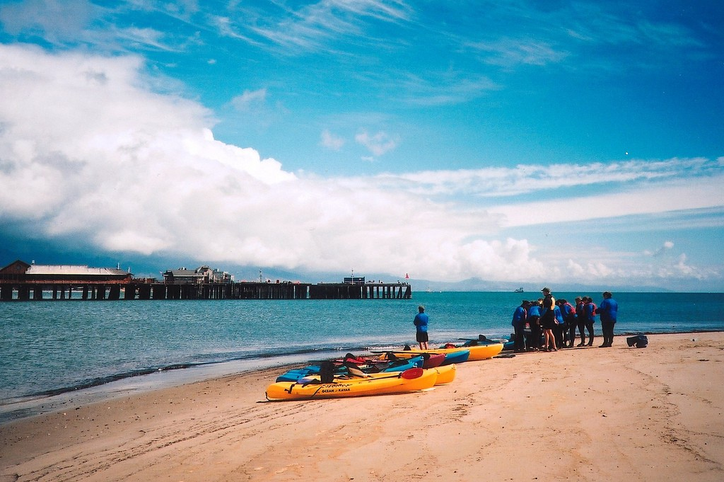 View of Harbor w Kayaks on Beach